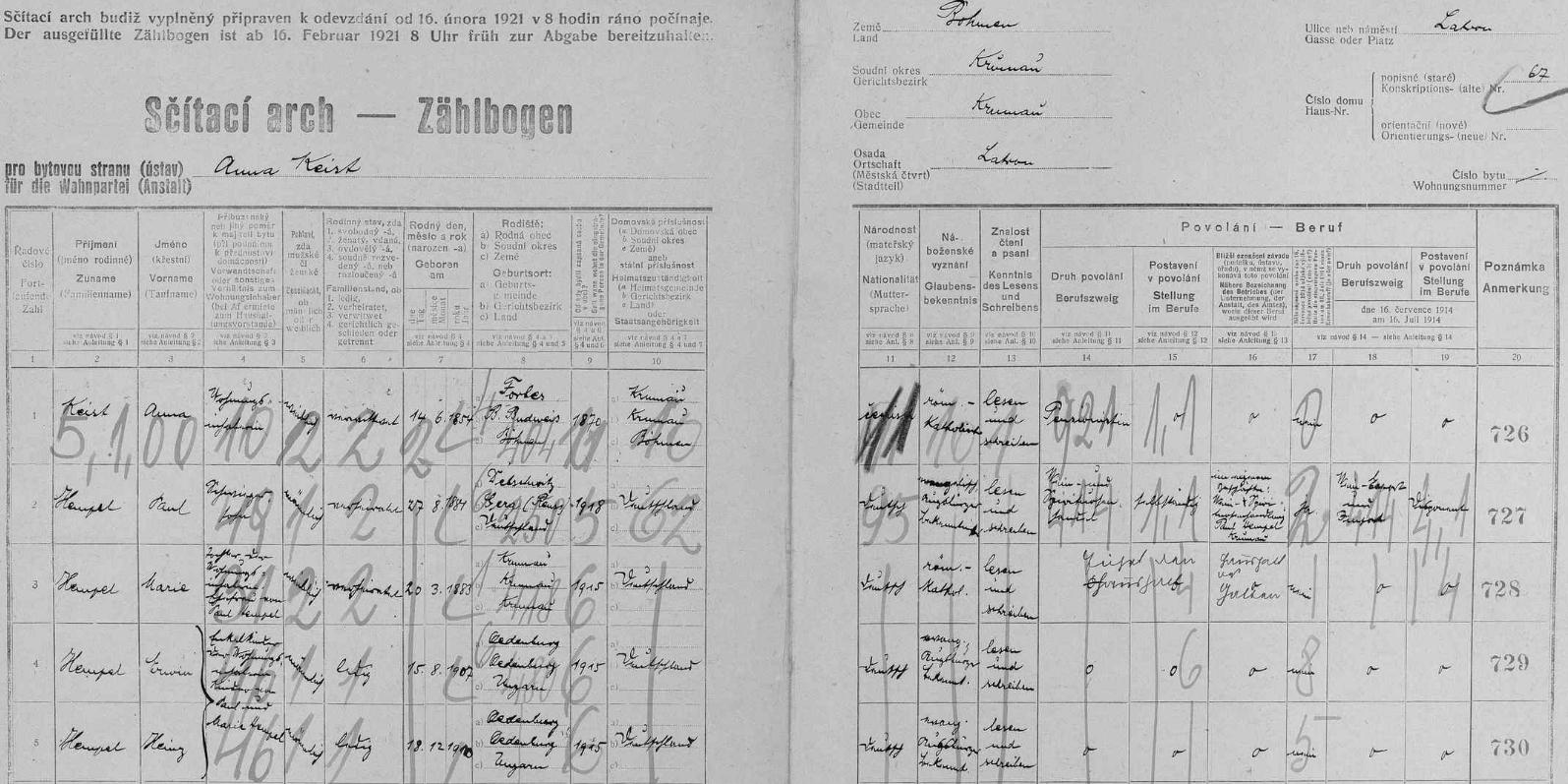 Arch sčítání lidu z roku 1921 pro českokrumlovský dům čp. 67 na Latráně s rodinou Hempelovou