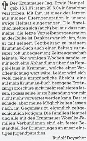 Takto se s ním rozloučil na stránkách krajanského měsíčníku RudolfDoyscher