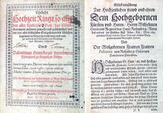 Titulní list a dedikace jeho knihy o manželství Vilémovi z Rožmberka a jeho ženě Polyxeně, roz. z Perštejna