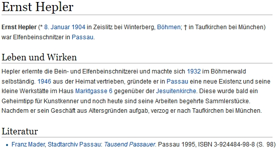 Záznam jeho jmenovce z Cejsic v bavorské regionální databázi