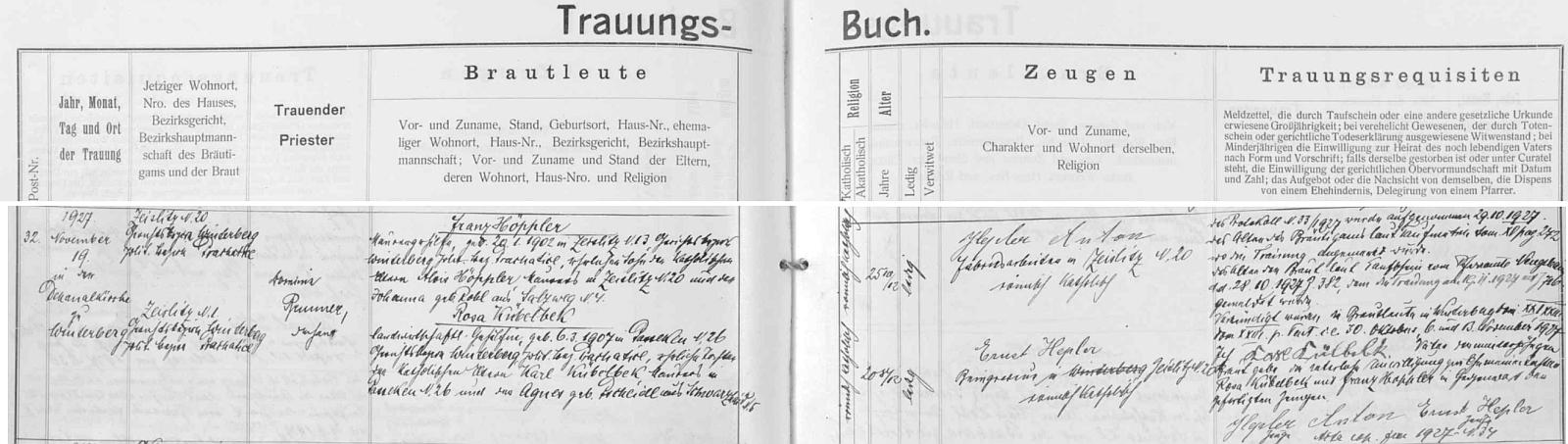 Záznam o svatbě rodičů ve vimperské oddací matrice, za svědka jim šel Ernst Hepler, který byl pravděpodobně i jeho kmotrem a se kterým se mohl později setkávat vBavorsku (viz níže)