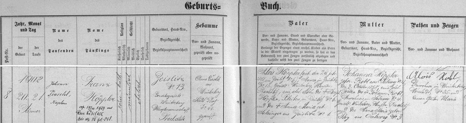 Záznam vimperské křestní matriky o narození otcově v Cejsicích