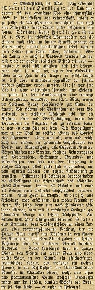 Obsáhlá zpráva o jeho úmrtí v českobudějovickém německém listu