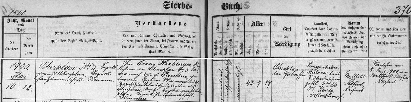 Záznam hornoplánské úmrtní matriky o jeho zdejším skonu na plicní tuberkulózu