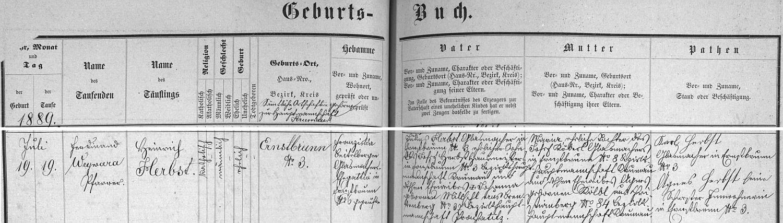 Záznam o jeho narození v křišťanovské křestní matrice