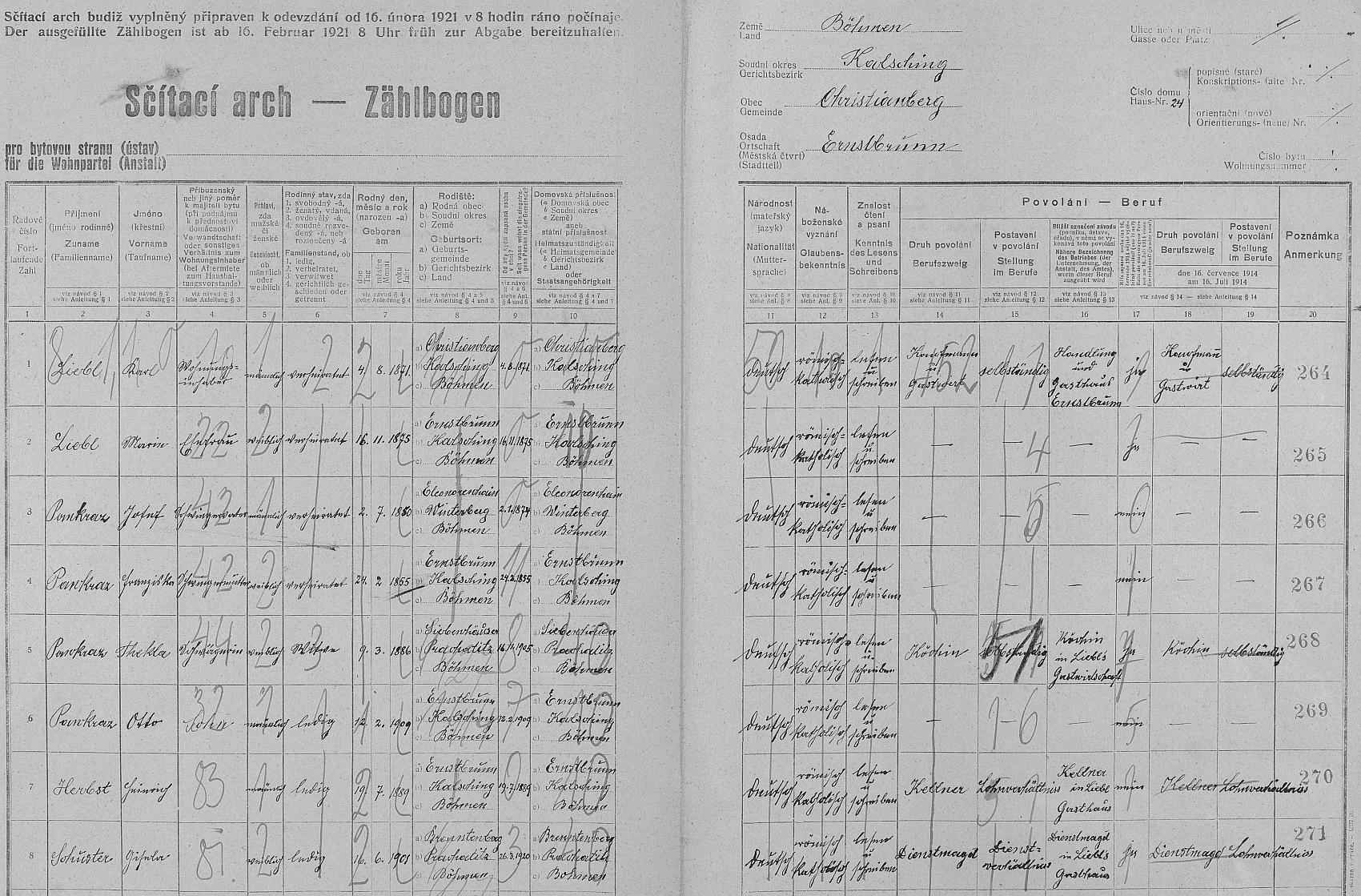 """Arch sčítání lidu z roku 1921 dům čp. 24 v Arnoštově, tedy místní hostinec, i s ním, označeným zde jako """"Kellner"""", tj. číšník..."""