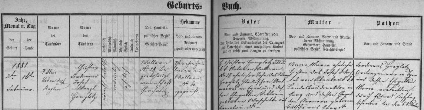 Záznam o jeho narození a křtu ve volarské matrice