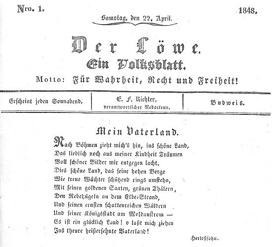 Záhlaví budějovického listu Der Löwe z 22. dubna 1848 s jeho básní