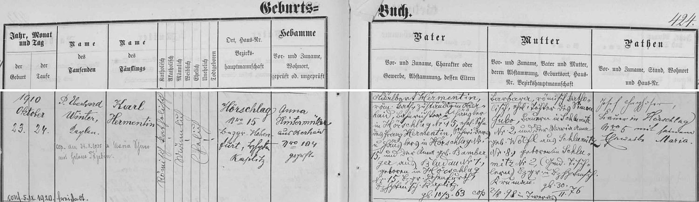 Záznam o jeho narození v matrice farní obce Horní Dvořiště