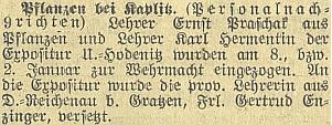 Zpráva o jeho odvedení k wehrmachtu v lednu 1940