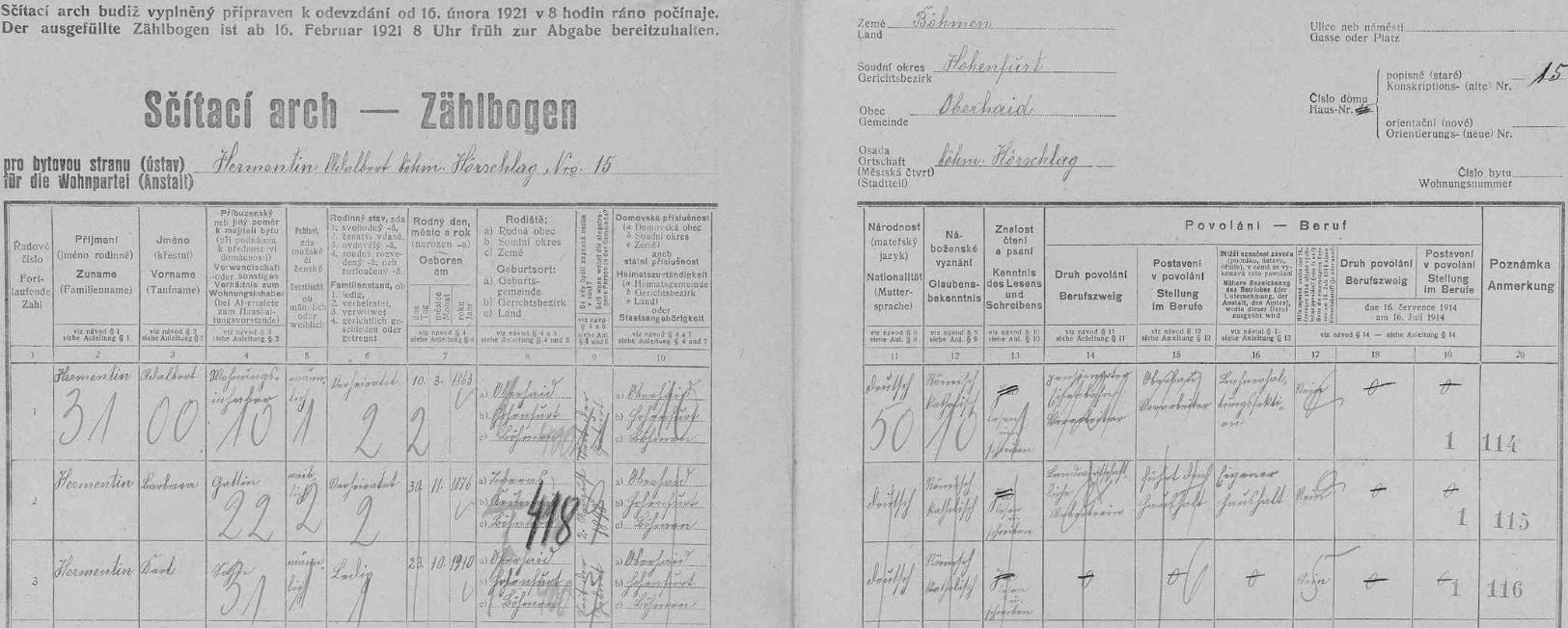 Arch sčítání lidu z roku 1921 pro stavení čp. 15 v Českém Heršláku s rodinou Hermentinovou