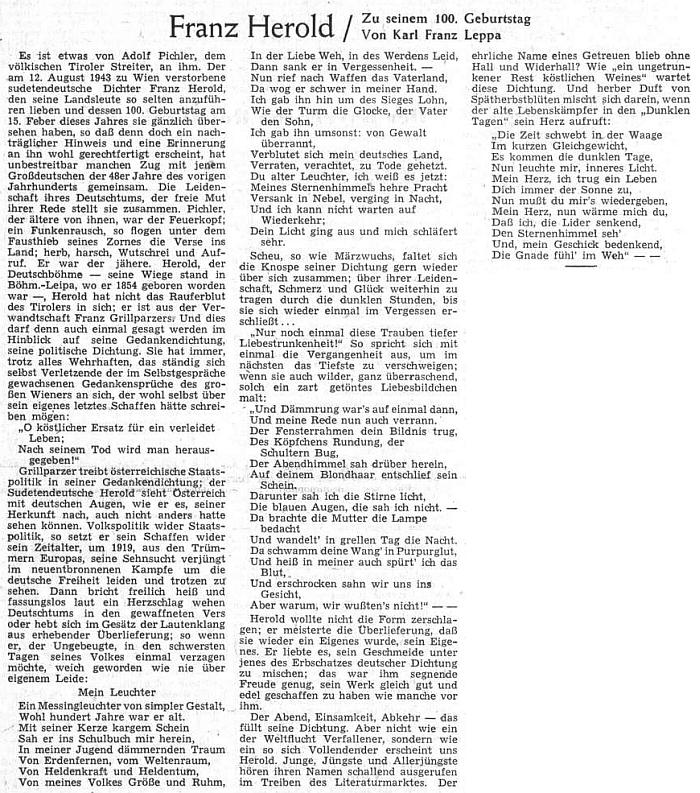 Ke 100. výročí jeho narození se na stránkách ústředního listu vyhnaných krajanů objevil článek Karla Franze Leppy o Heroldově osobnosti a významu
