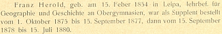 Záznam o době jeho působení na německém učitelském ústavu v Českých Budějovicích v letech 1875-1880