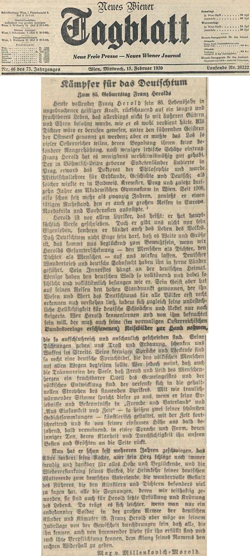Připomínka jeho pětaosmdesátin na stránkách vídeňského deníku z února roku 1939