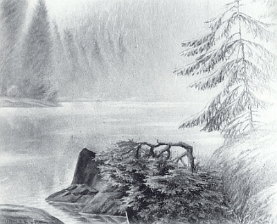"""Tento jeho obraz nese jméno """"Der Lakasee"""", tj. jezero Laka (viz i Robert Reinhard)"""