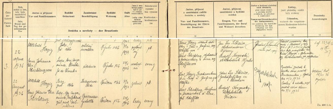 Záznam o jeho druhé svatbě na okresním úřadě v Klatovech 22. srpna roku 1936 s úřednicí Ernou Johannou Elise Schicktanzovou (*22. ledna 1916, evangelického vyznání, příslušnou do Německa /Liepe, okr. Angermünde/), bydlištěm v Nýrsku čp. 156 (ženich bydlil v Nýrsku čp. 466)  - svědkem obřadu byl Hans Leo Sittauer