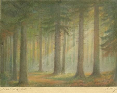Podzimní les (pastel)