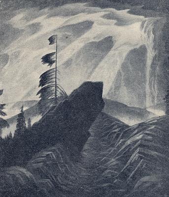 """Černobílá reprodukce jeho olejomalby """"Ossergipfel"""" (tj. """"Vrchol hory Ostrý"""")"""