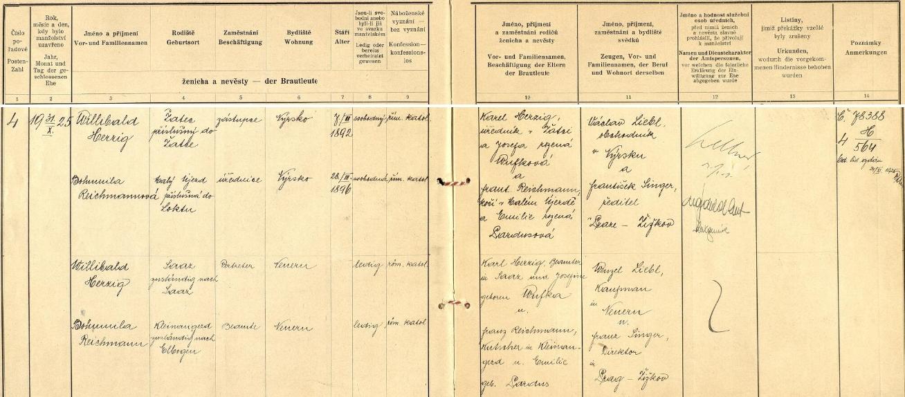 Záznam o jeho první svatbě na okresním úřadě v Klatovech 31. října 1925 s úřednicí Bohumilou Reichmannovou (*28. března 1896) z Malého Újezda, příslušnou do Lokte (byla jako ženich římskokatolického vyznání), oba sezdaní byli bytem v Nýrsku