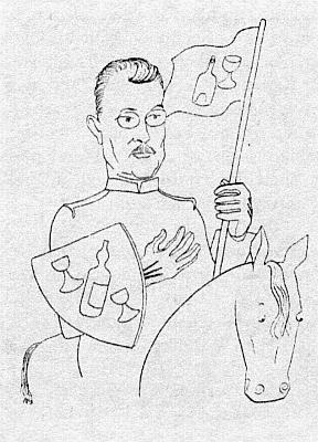 """Watzlikovo vlídné přijetí i ze strany českých """"levicových"""" kruhů dokládá tato karikatura Adolfa Hoffmeistera zneprodejné bibliofilie o víně, vydané vPraze roku 1933"""