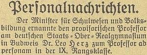 """Zpráva českobudějovického německého listu ojeho jmenování profesorem """"ad personam"""" v létě roku 1924"""