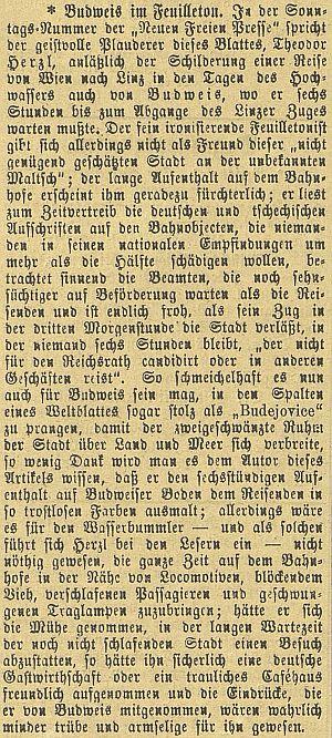"O jeho fejetonu v ""Neue Freie Presse"" na stránkách českobudějovického německého listu"