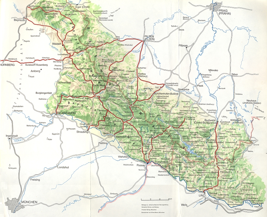 """Mapka v příloze její knihy """"Zwischen Donau und Moldau"""" zachycuje """"Böhmerwald"""" od Chebu po Třeboň jako sídlo posledního z Rožmberků"""