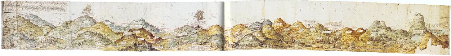 """Hraniční mapa z roku 1514 zachycuje česko-bavorské pomezí a tvořila obálku její knihy """"Mezi Dunajem a Vltavou"""" (1968)"""
