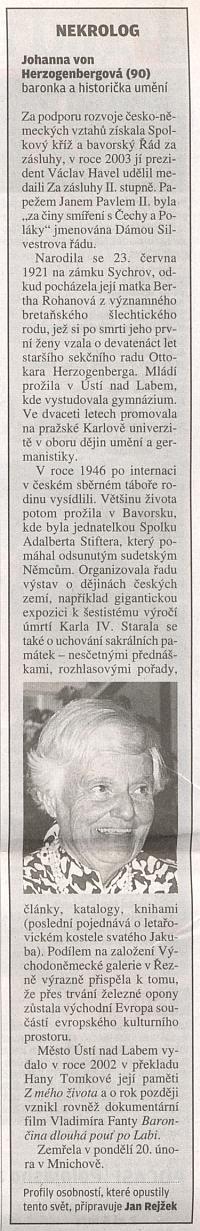 Nekrolog na poslední straně renomovaného českého listu