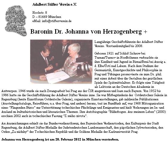 Životopis na webových stránkách Adalbert-Stifter-Verien