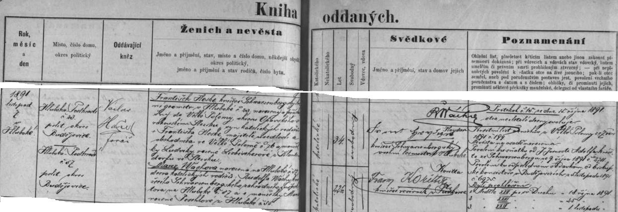 Česky psaný záznam o jeho hlubocké svatbě s Marií Wáchovou v listopadu roku 1891...