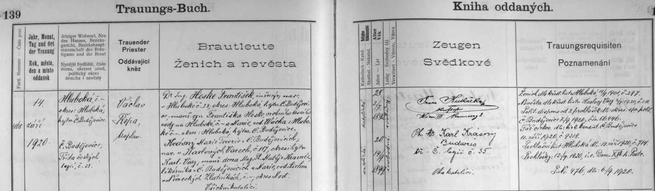 ... a o synově svatbě u sv. Mikuláše v Českých Budějovicích s Marií Terezií Krásnou