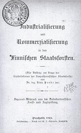 Titulní list separátního otisku jeho textu (1924) z fondu Národní knihovny v Praze