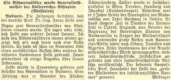 Adolf Webinger tu na stránkách krajanského měsíčníku podává zprávu o jmenování Heskeho generálním lesmistrem etiopského císařství