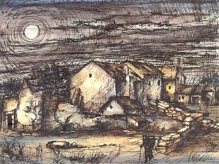 """Tato jeho akvarelem překrytá perokresba nese název """"Weggehen von zu Hause"""", tj. """"Odchod pryč z domova"""""""