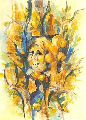"""Jím signovaný akvarel s názvem """"Žena vjablečném stromě"""""""