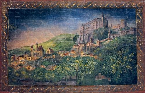 Tento malovaný gobelin vytvořil podle starého zobrazení podoby Vimperka z doby kolem roku 1832 odFerdinanda Runka (1764-1834)