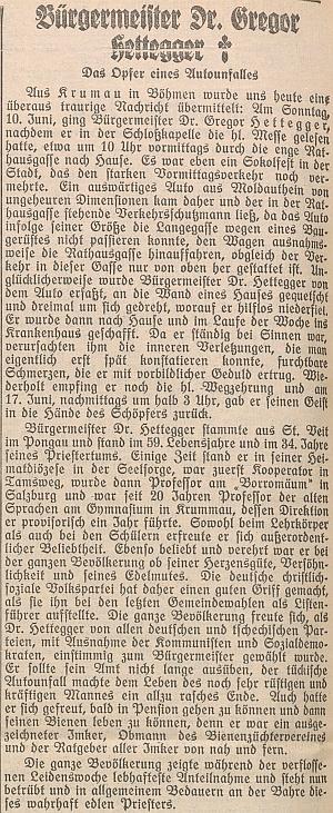 "... a v rakouském listu ""Salzburger Chronik für Stadt und Land"""
