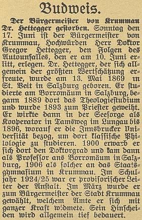 Nekrolog na stránkách českobudějovického německého listu...