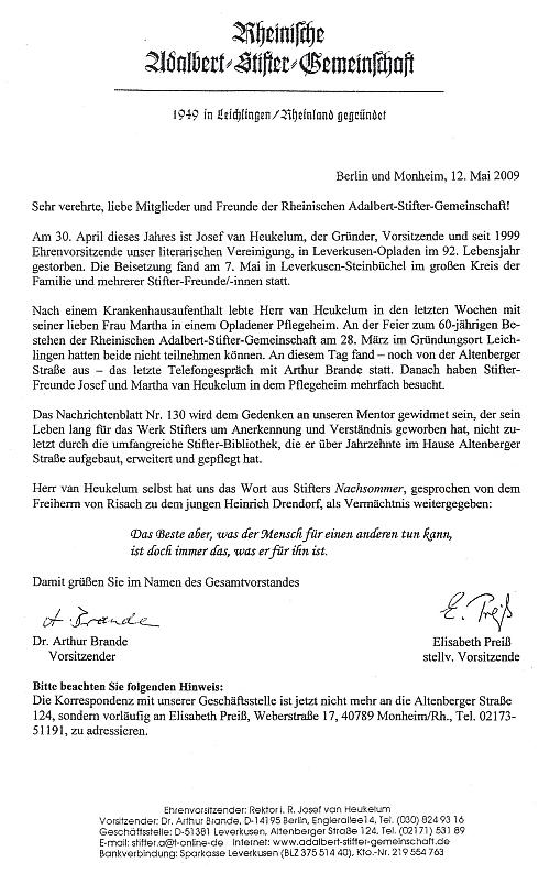 Informace o jeho úmrtí členům a příznivcům Rýnského sdružení Adalberta Stiftera s podpisem jeho předsedy Dr. Brandea a mistopředsedkyně Elisabeth Preißové