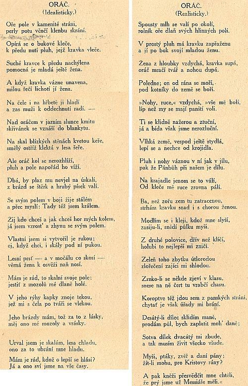 Obálka (1921) Artuše Scheinera k antologii, v níž je také zastoupen třeba básní Oráč (mohla by být přeložena hymnou šumavských Němců) - mám tu knihu z pozůstalosti svého otce, který byl v mládí knihovníkem soběslavské organizace dorostu Republikánské strany zemědělského a malorolnického lidu, jinak řečeno agrární strany, po druhé světové válce zakázané už tzv. Košickým vládním programem