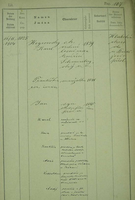 """Jeho česky psaná pražská policejní přihláška z roku 1904 ho charakterizuje titulem """"c.k. vrchní lesní rada Schwarzenberský"""" a uvádí kromě něho manželku Františku, roz. Zenkerovou (*1848) a syny Jana, Karla aAdolfa, jakož dcery Rosu, provd. Květovou, Františku, provd. Renesbergovou, Marii, provd. Kořanovou a Leopoldinu, provd. Wollnerovou"""