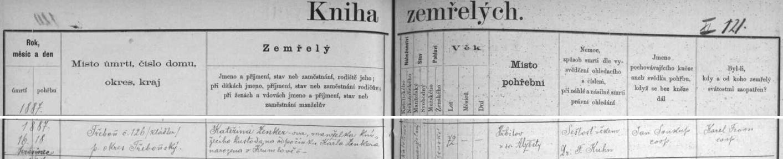 Záznam třeboňské úmrtní matriky o skonu jeho tchyně