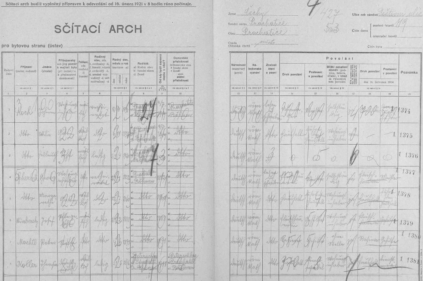 Jeden z archů sčítání lidu z roku 1921 pro dům čp. 119 v prachatické Poštovní ulici, kde mj. žil se svými pěstouny Georgem (*24. dubna 1852 v Prachaticích) a Margarethe (*12. července 1860 v Prachaticích) Gherbetzovými jako jejich svěřenec a řeznický pomocník v pěstounově živnosti tehdy ještě svobodný Josef Wimbersky (25. února 1888 vPrachaticích)