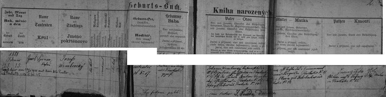 Záznam prachatické křestní matriky o otcově narození (příjmení je tu ještě psáno s čárkou nad posledním písmenem) s dodatečným přípisem o jeho svatbě dne 24. dubna roku 1923 s Marií Annou Forsterovou v Prachaticích