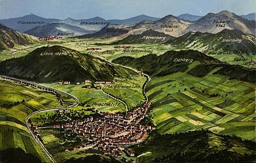 Prachatice a okolí na panoramatické pohlednici ateliéru Seidel z roku 1922