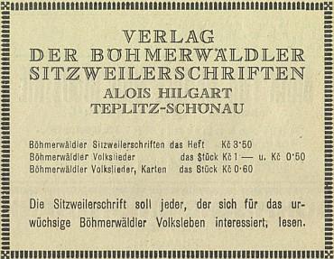 Inzerát (1929) na jeho nakladatelství v šumavském průvodci budějovického Böhmerwaldbundu
