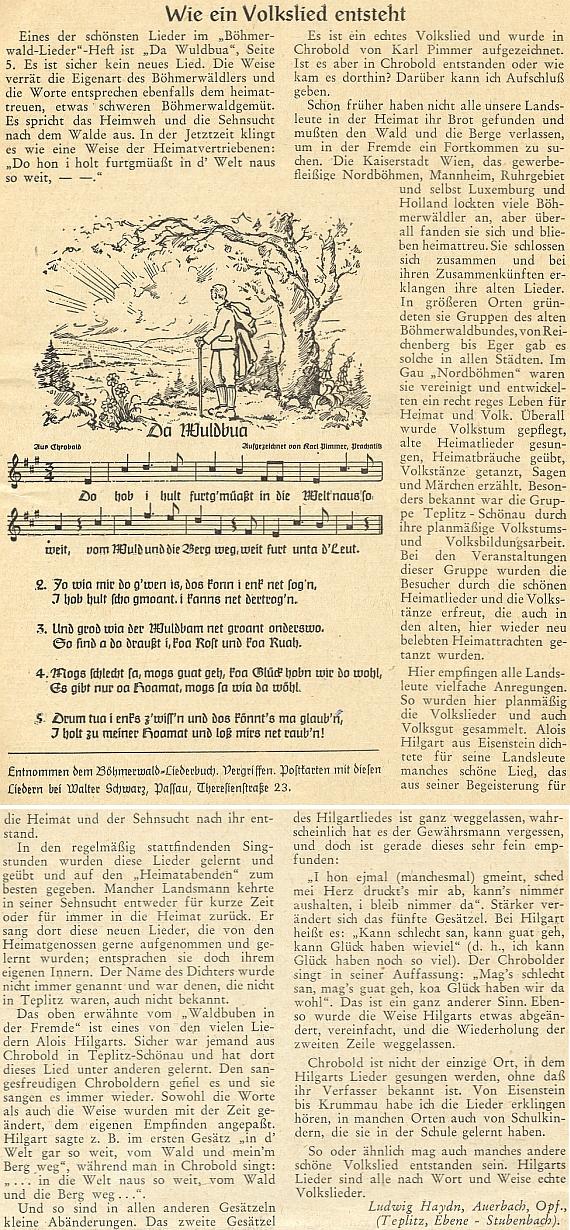 Článek Ludwiga Haydna o tom, jak vznikla jedna lidová píseň, připomíná Hilgartův význam