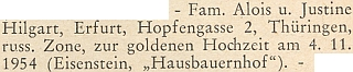 Blahopřání ke zlaté svatbě Aloise a Justiny Hilgartových do východoněmeckého Erfurtu na stránkách krajanského měsíčníku z podzimu roku 1954