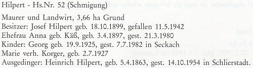 Jeho rodný dům v Šitboři čp. 52 v záznamu ze stránek rodácké pamětní knihy...